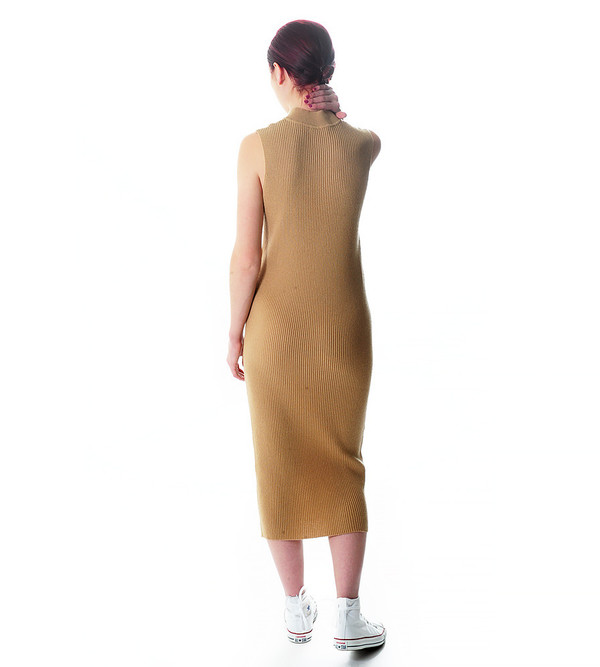 Ryan Roche Camel Cashmere Sweater Dress