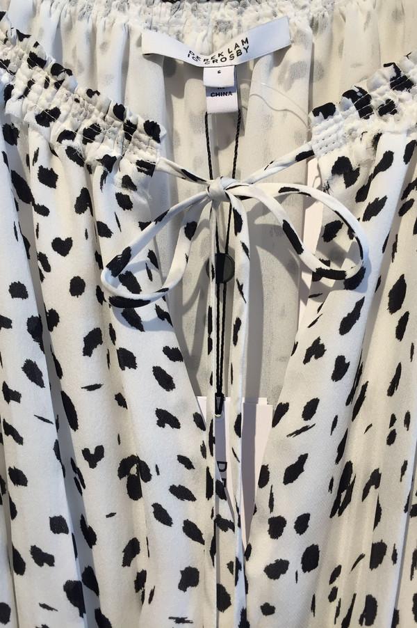 Derek Lam 10 Crosby Ink Dot Georgette Gathered Dress