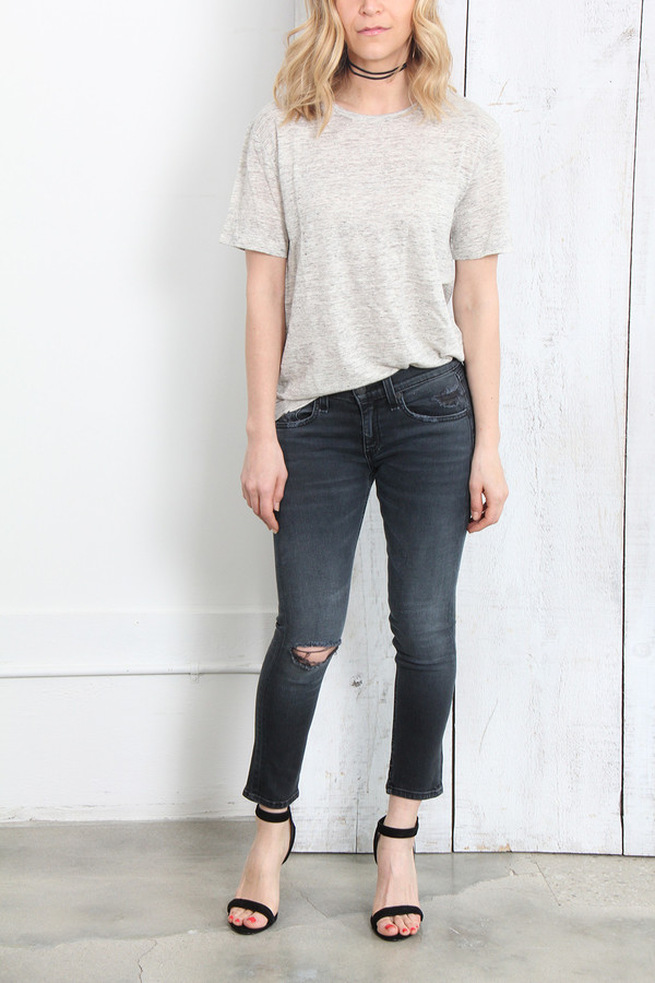 T By Alexander Wang LINEN SILK OVERSIZED TEE IN HEATHER GREY
