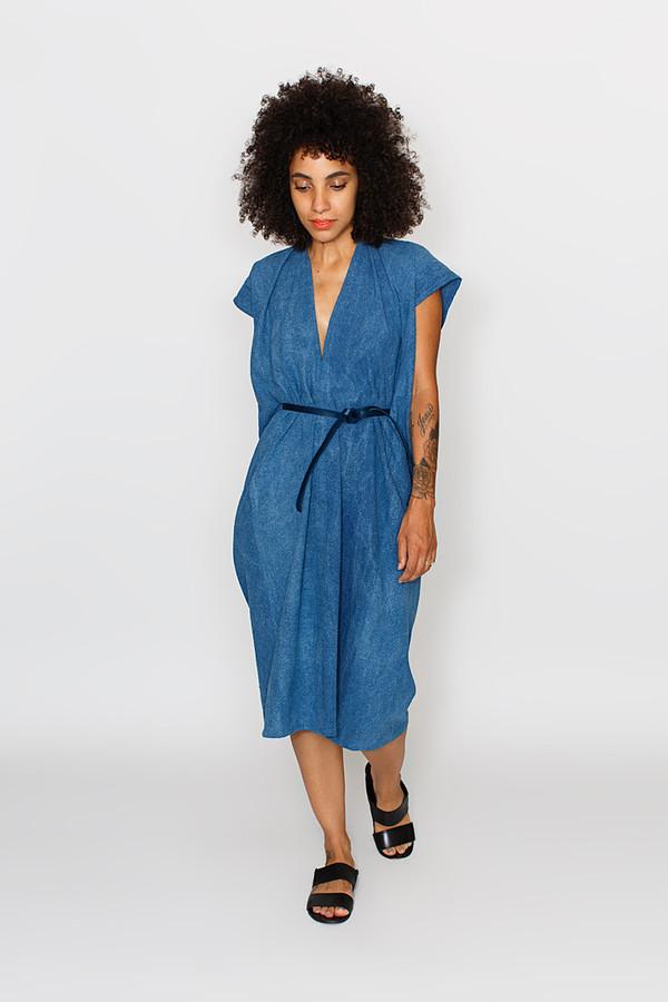 Miranda Bennett  Tempest Dress, Silk Noil in Indigo