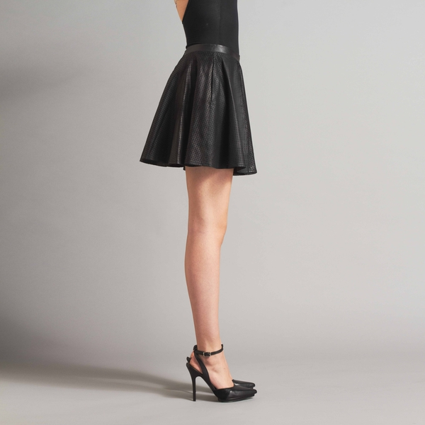 LAMARQUE ARIA Perforated Leather Flare Skirt