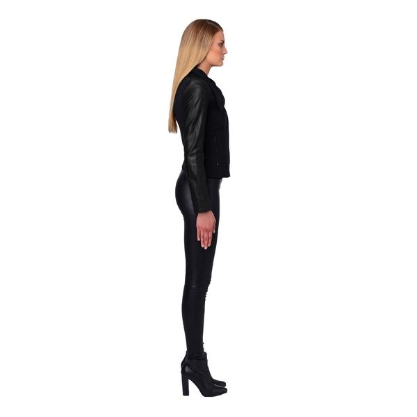 LAMARQUE EMMA Leather and Crepe Turtleneck Jacket