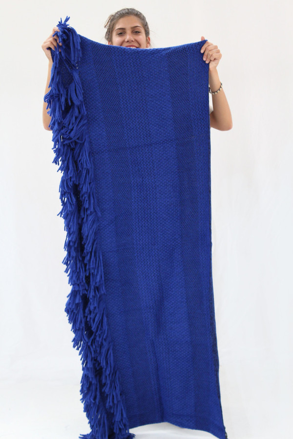 Rachel Comey Fringe Scarf / Wrap In Blue Or Grey