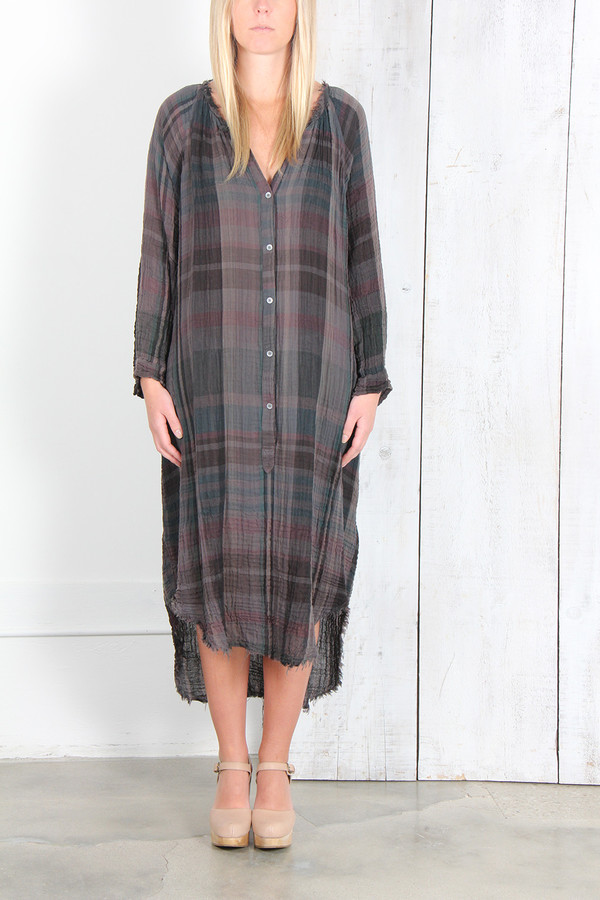 RAQUEL ALLEGRA GAUZE POET DRESS IN CHARCOAL PLAID