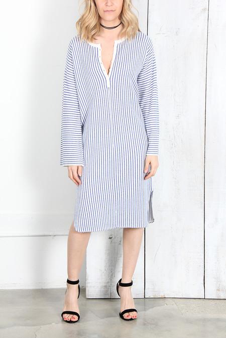 Raquel Allegra IVORY BLUE STRIPE CASHMERE HENLEY TUNIC DRESS