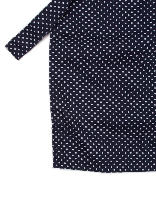 Long Apron Navy Printed Polka Dot