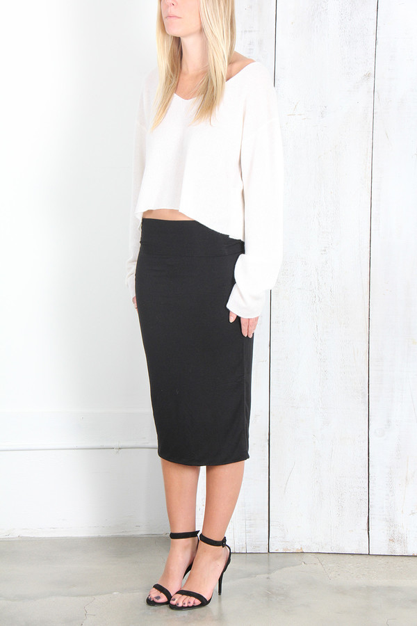 Raquel Allegra DOUBLE LAYER SKIRT IN BLACK