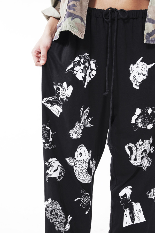 Ikumi Tattoo Long Pants (Black)