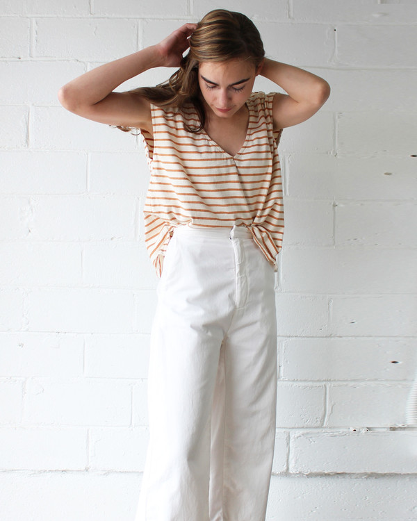 Esby Evie Oversized Top - Burnt Orange Stripe