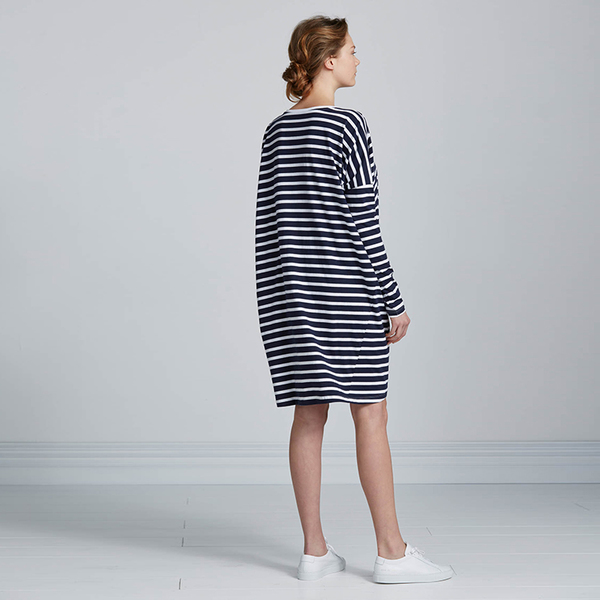 Kowtow Building Block Oversized Dress - navy/white stripe