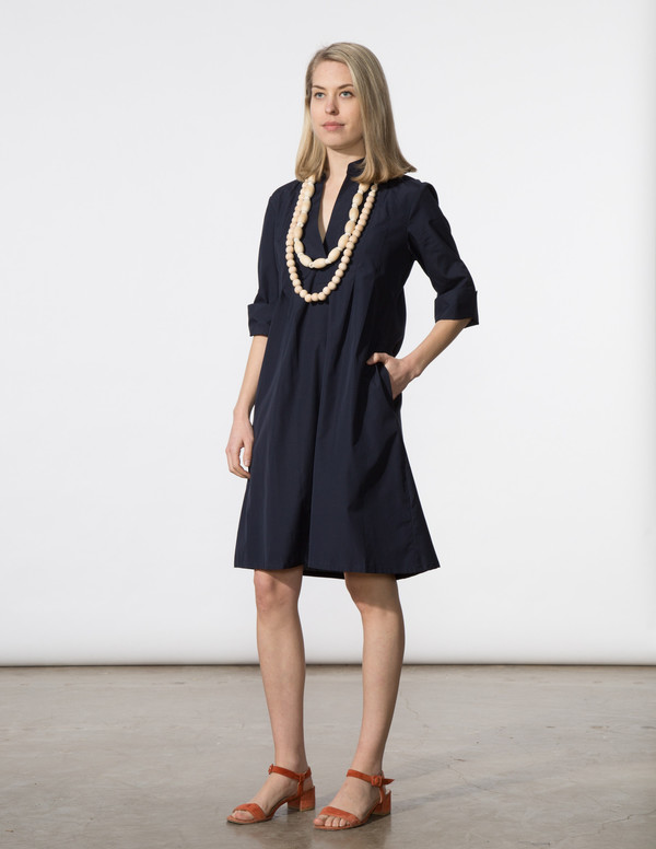 SBJ Austin Ellen Dress in Navy Italian Poplin