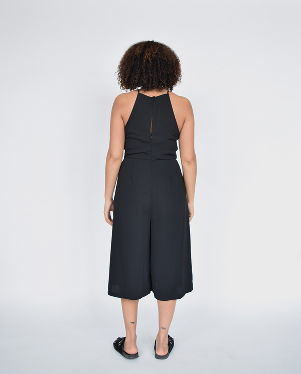 Lush Black Apron Neck Jumpsuit