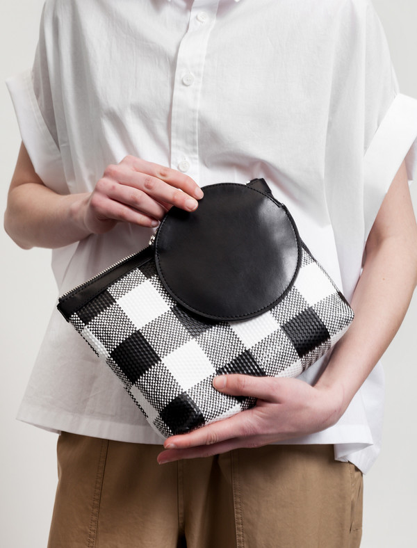 Kara Pyramid Wristlet Gingham Leather