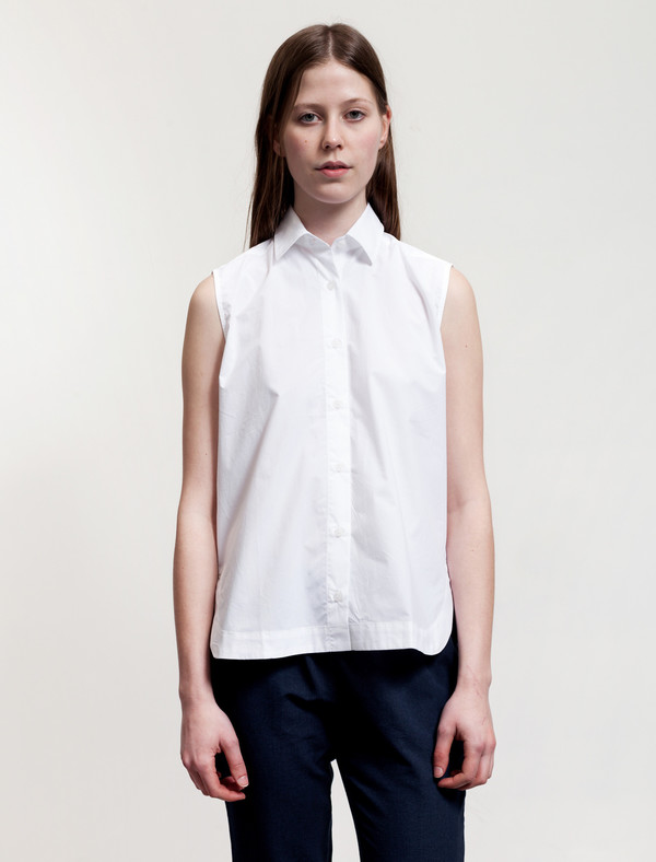 Sunspel Sleeveless Shirt White