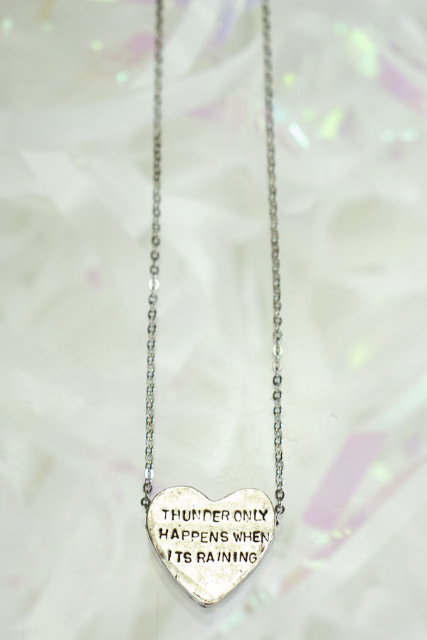 """Heartbeats Necklace """"Thunder Only Happens When It's Raining"""" - ERICA WEINER"""