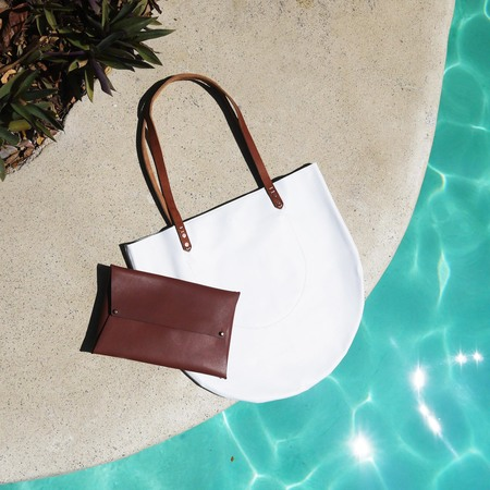 AW by Andrea Wong Half Moon Tote   WHITE