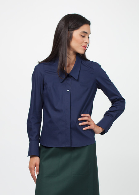 Gianfranco Scotti Wide Collar Poplin Shirt