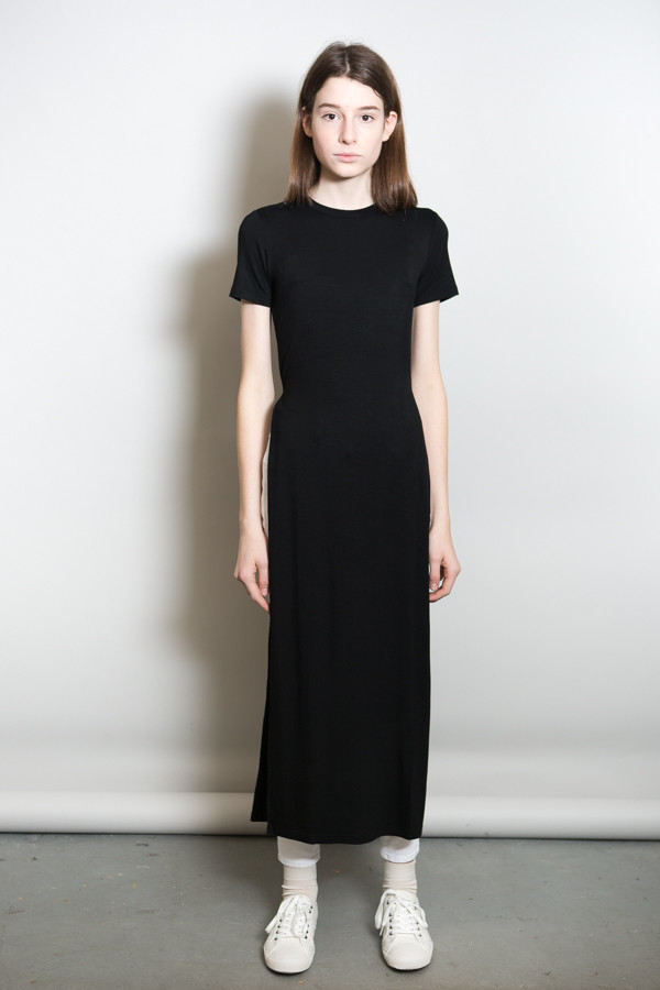 Side Slit Maxi Tee / Black