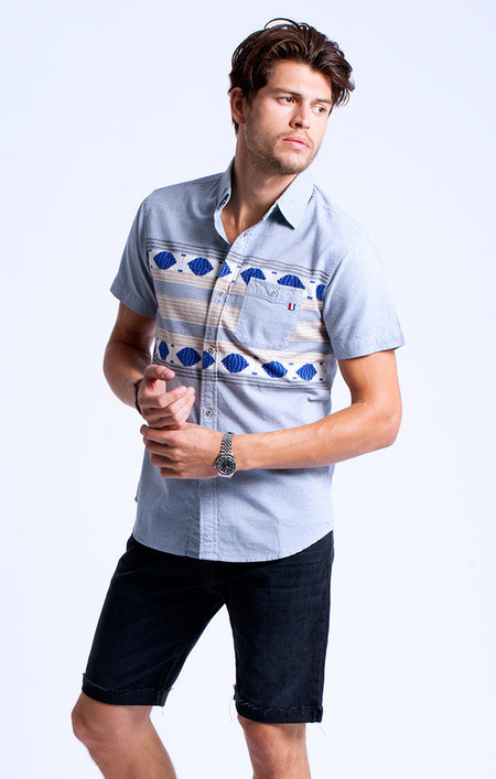 Men's Sol Angeles Ikat Chambray Short Sleeve Shirt
