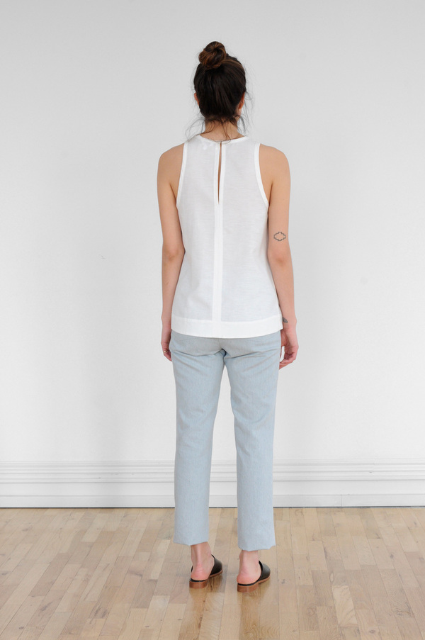 Waltz Sleeveless Racer Top in Ivory