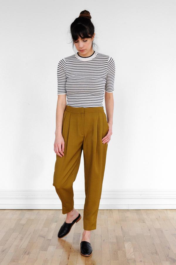 Waltz Double Pleat Trousers in Golden Olive