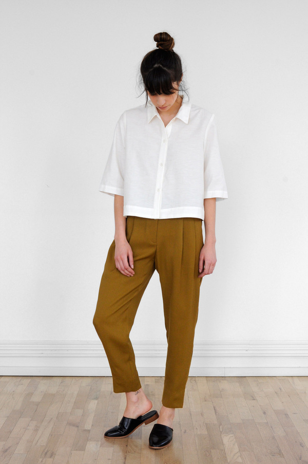 Waltz Cropped Button-Up Shirt in Ivory