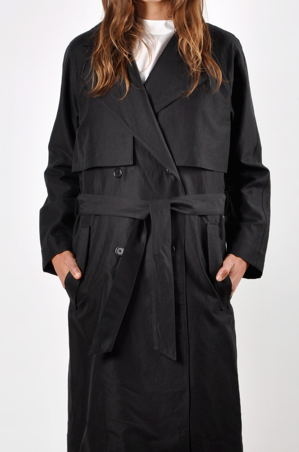 Waltz Oversized Trench Coat in Black Linen/Cotton Twill
