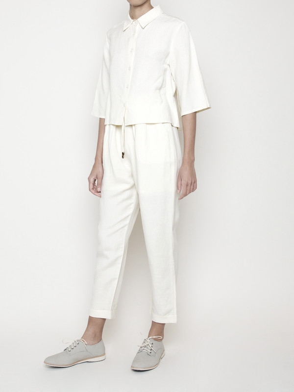 7115 by Szeki Back Pleated Button Up- Cream SS16