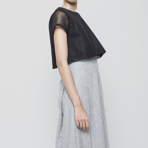 7115 by Szeki Fishnet Cropped Top FW15