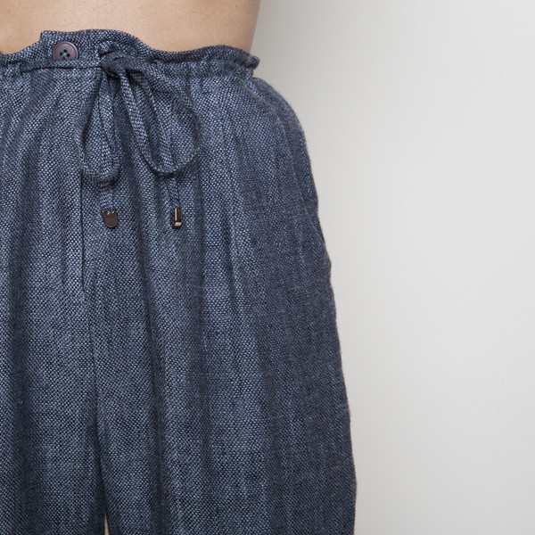 7115 by Szeki Linen Drawstring Pant R16- Blue