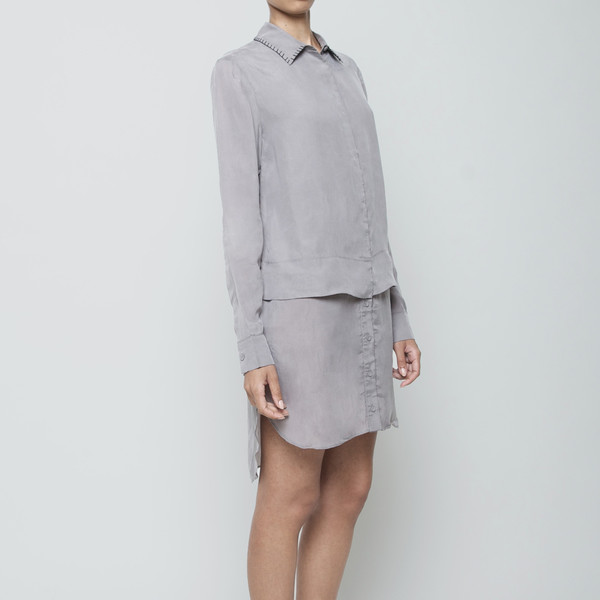 7115 by Szeki Stitched Collar Layered Shirtdress