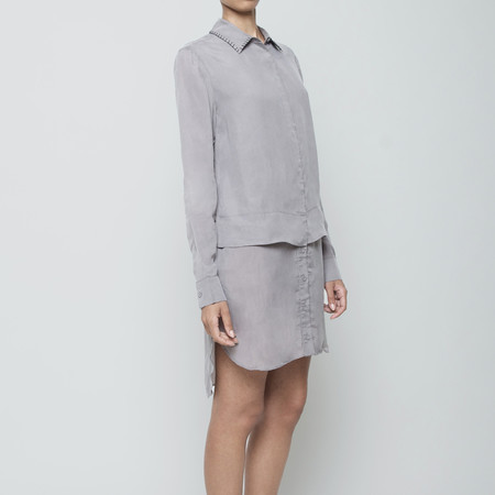 7115 by Szeki Stitched Collar Layered Shirtdress