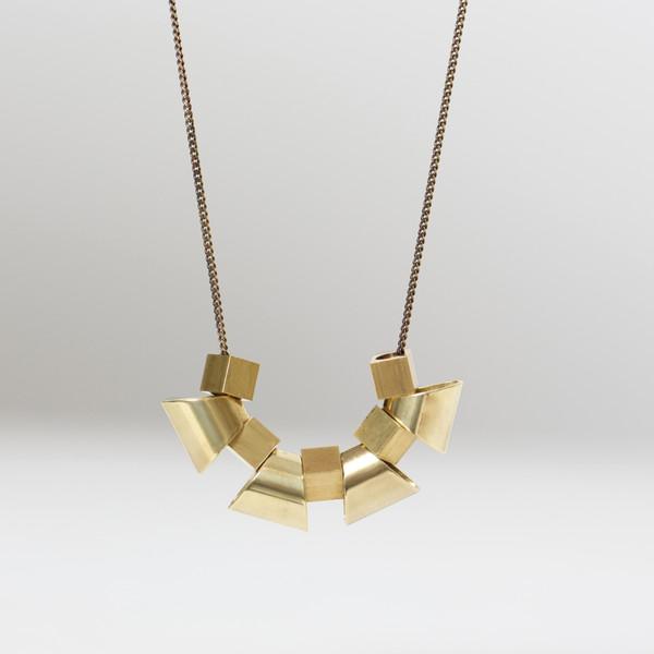 7115 by Szeki Trapezoid Cubes Brass Necklace
