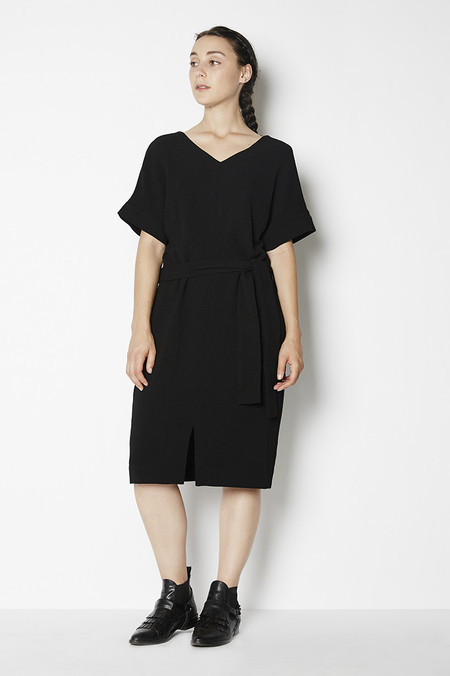 Achro Belted Front Slit Dress