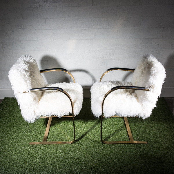 Brass and Fur Chairs
