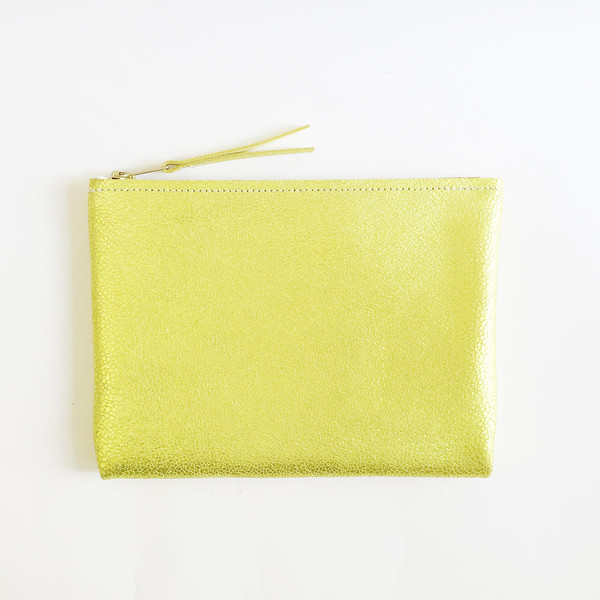 ARA Handbags - Metallic Chartreuse Clutch No. 1