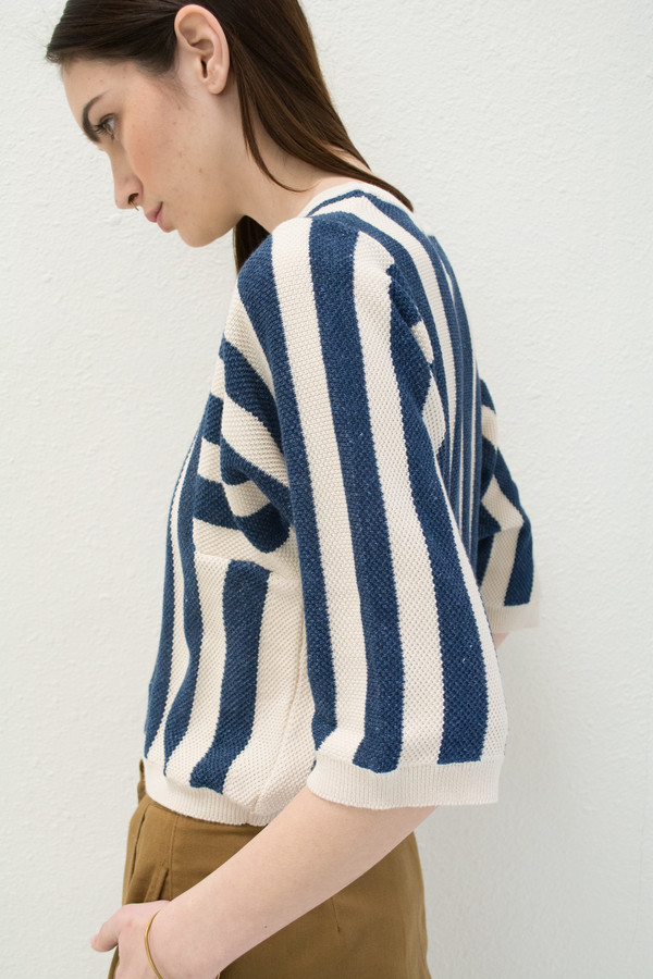 Micaela Greg Navy Reverse Stripe Sweater