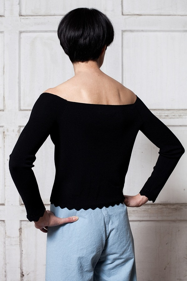 Apiece Apart Long Sleeve Off Shoulder Top - black