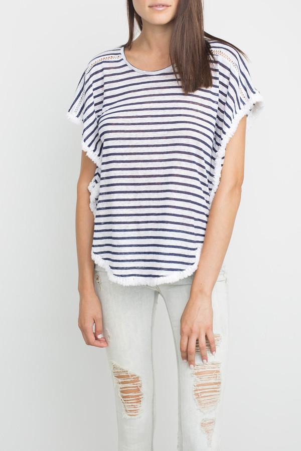 Generation Love Beau Fringe Circle Top - Stripe