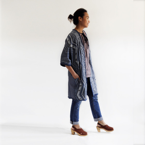 Conditions Apply CHAMBRAY EMBROIDERED COAT