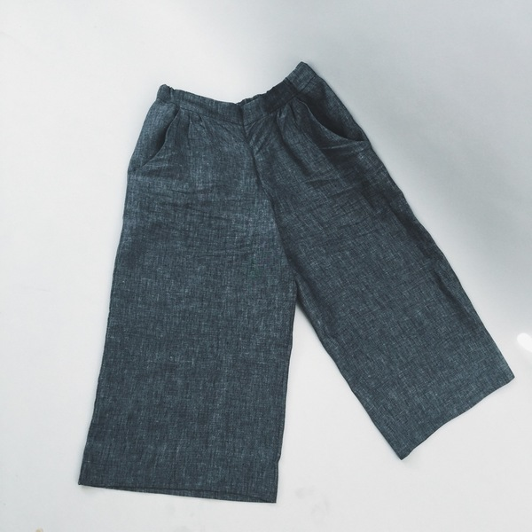 Ali Golden Linen Wide-Leg Pant