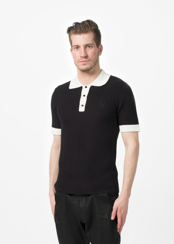 Men's Fred Perry Rib Knit Shirt - Black