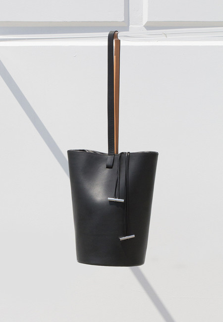 Building Block Smooth Leather Basket Bag