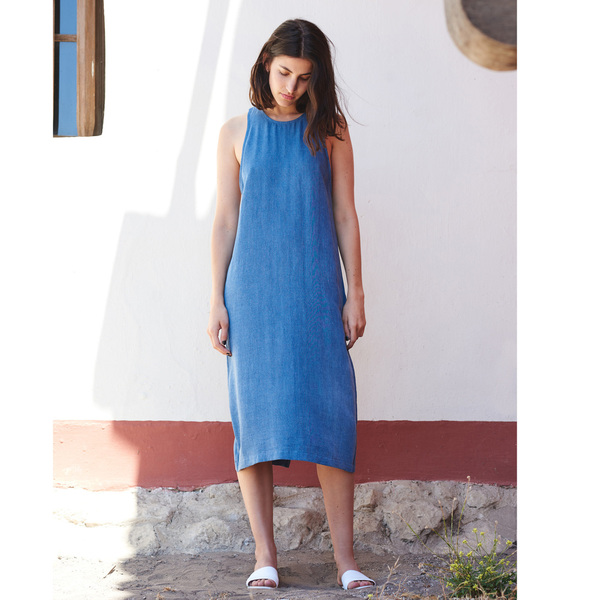 First Rite Drop Back Dress Denim