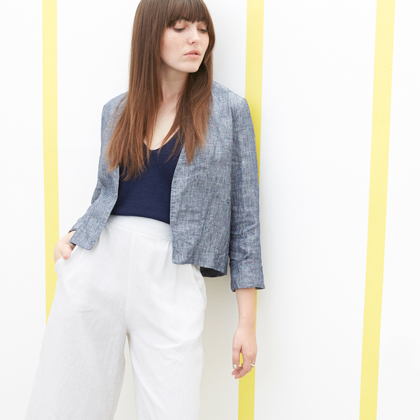 Ali Golden LINEN JACKET - BLUE CHAMBRAY