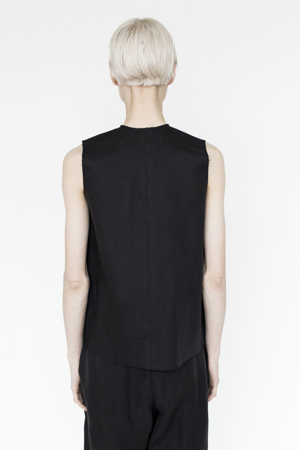 CF. Goldman Linen Bonded Top - Black