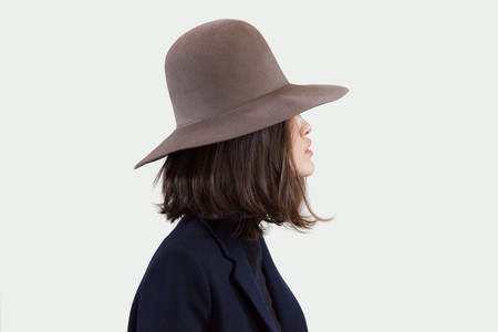 Clyde Wide Brim Dome Hat in Mink Angora