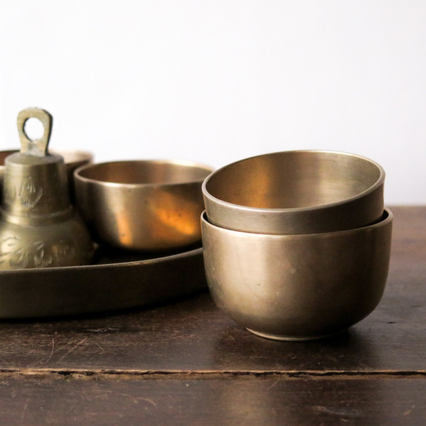 brass sake set