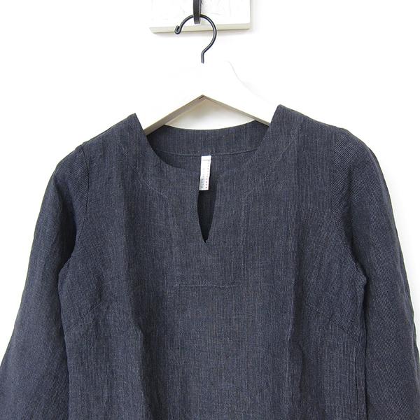 Nuthatch washed linen modern dress - charcoal stripe