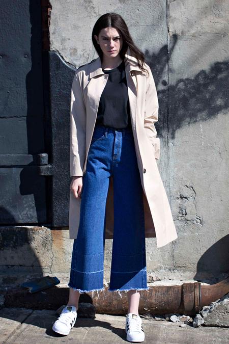 Lookast High Waist Wide Denim Pants- Dark Blue